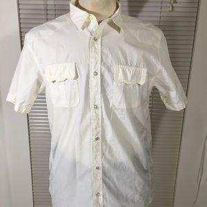 Ben Sherman White Cotton Paper SnapFront S/S Shirt